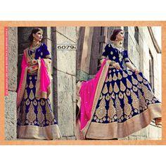Bollywood Replica - Designer Blue & Golden Velvet Lehenga Choli - 6079