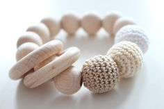 Baby teething toy / Natural teething by ZanesCrochetTreasure