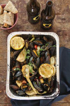 Blåskjell på grillen med fennikel og pølse fra @matpaabordet