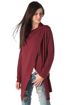 Marsala longline jacket with soft waterfall drape - 29,90 € - https://q2shop.com/