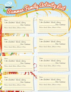 Summer Family Bucket List - Get the kids to fill out what they want to do.