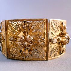 Art Deco Sterling Vermeil Bracelet Ornate Filigree    From Ruby Lane Shop Suzy's Timeless Treasures