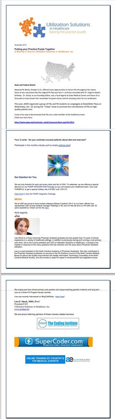 November Newsletter from Utilization Solutions in Healthcare.