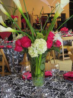 lg hot pink roses and white hydrangeas and callas Flowergirls Weddings 58th & Lewis Tulsa, Ok 918-949-1553 www.flowergirlsoftulsa.com