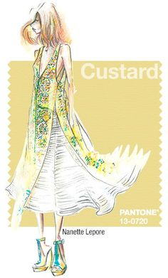 Custard PANTONE 13-0720  A beautiful compliment for warmer skin tones. Add depth and interest to your look by dressing in Custard instead of the classic pale yellow that we typically we this time of year. Custard is a fabulous shade for accessories - clutches, shoes or hair pieces!