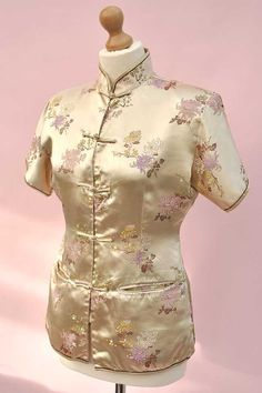 Vintage 1960s Gold Satin Brocade Chinese Cheongsam by DillyDandy