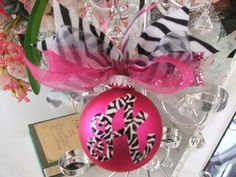 Whimsical zebra monogrammed and handpainted ornament.....design your own.... $17.95, via Etsy.