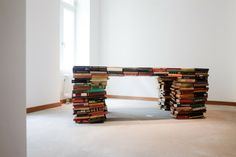 TOUCH this image: This Book Table is one of five unique pieces by Dutch des... by FvF