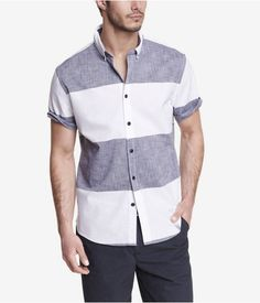Express Fitted Short Sleeve Striped Shirt on shopstyle.com