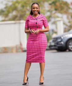 Serwaa Amihere is known for wearing classic dresses on set which inspire many young ladies. From corporate wear, casual wear, African prints and more. African Fashion Ankara, Latest African Fashion Dresses, African Print Fashion, Dress Fashion, Fashion Prints, Classy Work Outfits, 30 Outfits, Classy Dress, Stylish Outfits