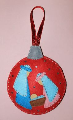 Nativity Ornaments, Fabric Ornaments, Felt Christmas Ornaments, Christmas Nativity, Handmade Christmas Decorations, Felt Decorations, Christmas Sewing, Christmas Crafts, Christmas 2019