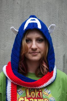 "Captain America crocheted hooded scarf // and she's wearing a ""Loki Charms"" t-shirt!"
