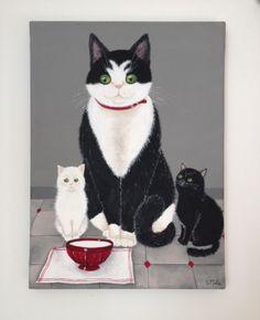 Chat blanc et chat noir - tableaux, peintures - La boutique de Sophie - Fait Maison