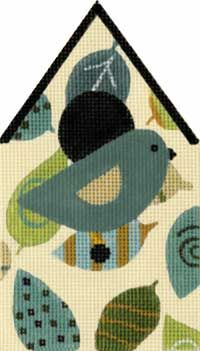 Melissa Shirley Designs   Hand Painted Needlepoint   Leaf Birdhouse
