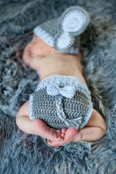 PATTERN Instant Download, Newborn-12 Months Elephant Hat and Diaper Cover Set