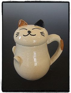 Super Cute Calico Cat Mug with Matching Face Lid by misunrie