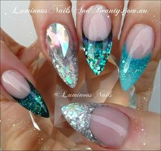Whoever does this is absolutely gifted in nail art. Luminous Nails Turquoise and Silver Glitter Nails Get Nails, Fancy Nails, Love Nails, Fabulous Nails, Gorgeous Nails, Pretty Nails, Gorgeous Makeup, Stiletto Nails, Glitter Nails