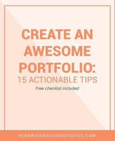 Your portfolio pieces are created what's next? Now it is time to create the portfolio. Click through to read tips on how to Create an Awesome Portfolio plus a free portfolio worksheet.
