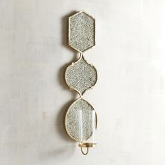 Golden Mirrored Pillar Candle Holder Wall Sconce