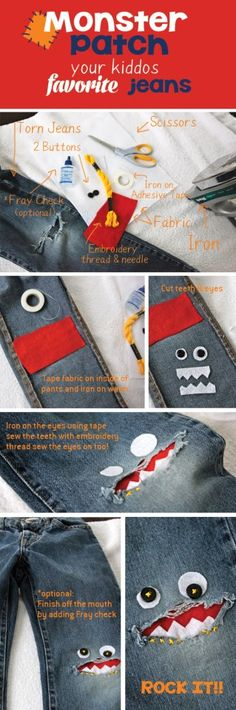 Kniemonster (knee patch) zum Flicken kaputter Hosen: Forget the kids- I want this! Sewing Hacks, Sewing Crafts, Sewing Projects, Diy Clothing, Sewing Clothes, Sewing For Kids, Diy For Kids, Patched Jeans, Ripped Jeans