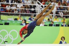 Stunning performance: Simone Biles, one fifth of the Fierce Five, competes on the floor during the women's qualifications