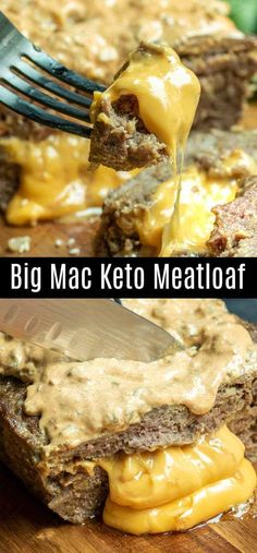 This delicious Big Mac Keto Meatloaf is made with pork rinds and ground beef, st. - This delicious Big Mac Keto Meatloaf is made with pork rinds and ground beef, stuffed with cheese, - Big Mac, Ground Beef Recipes For Dinner, Dinner Recipes, Ground Beef And Pork Meatloaf Recipe, Ground Beef Keto Recipes, Beef Bacon, Pork Recipes, Low Carb Recipes, Recipies