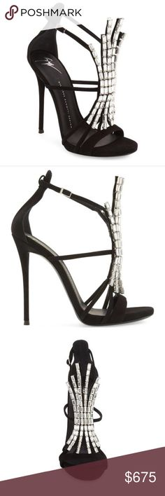 5eecf332ab9 Giuseppe Suede Crystal Sandals Size 39 (US