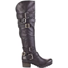 These biker chic boots will add a little roughness to your wardrobe.  Bacio 61 brings you Profondo, a black leather boot with different buckles to toughen up the shaft.  A 1 1/2 inch block heel goes into a rubber sole to give you traction while a zipper in the back perfects this must have.