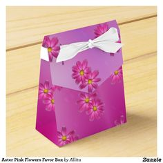 Aster Pink Flowers Favor Box