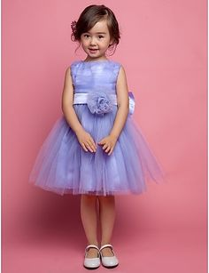 A-line Sleeveless Satin And Tulle bow(s) Wedding/Evening Flower Girl Dress http://ltpi.co.nf/?item=532821