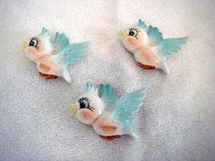 3 Norcrest/ Lefton bay bluebirds bird wall plague blue bird  | eBay