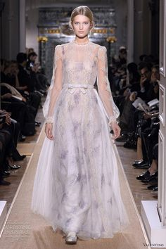 Valentino slip of a dress with sprigged floral print and sheer high neck overlay