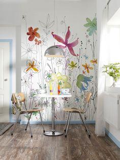 Photo murale, Tête de lit Fleurs Dessin - panoramique Komar : Photo murale, Tête de lit chambre d'enfant