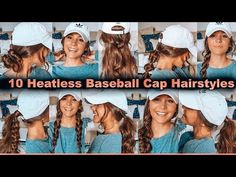 Hey guys, welcome back! Today I share with you 10 heatless hairstyles you can do when you are running late and need a fast cute hairstyle. Baseball Cap Hairstyles, Gym Hairstyles, Heatless Hairstyles, Baseball Hat Hair, Hairstyles With Hats, Country Girl Hairstyles, Baseball Cap Outfit, Baseball Caps, Curly Hair Styles