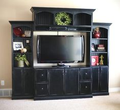 Custom Wall Media/Entertainment Center - love this DIY media center! prob stain a cherry wood color instead of the black Pottery Barn finish though! Custom Entertainment Center, Entertainment Center Furniture, Entertainment Center Makeover, Entertainment Center Kitchen, Home Entertainment, Custom Sofa, Custom Wall, Media Center, Tv Center
