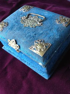 HUGE Antique RoyalCobalt Blue Velvet Silk Victorian Boudoir