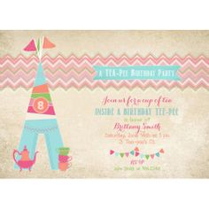 Glam Camping Glamping Tea-Pee Birthday Party Printable Invitation