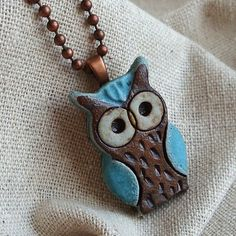 Little Turquoise Owl ceramic necklace, ceramic pendant, vessel, pottery, stoneware clay, ceramic jewelry, must-have for owl lovers on Etsy, $24.50