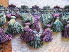 Scalloped Tassel Fringe purple and green by tasseloutlet on Etsy Colorful Playroom, Playroom Colors, Fringes, Tassel Necklace, Tassels, Trending Outfits, Unique Jewelry, Purple, Handmade Gifts
