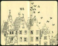 Moleksine sketchbooks by Mattias Adolfsson, via Behance