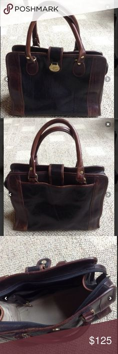 """Brown Brahmin Leather  Satchel Bag BRAND BRAHMIN   CONDITION VERY GOOD Measurements  L :11"""" width: 59"""" Hight: 9"""" gold hardware. Some wear but in great structural condition. Inside is clean, hardware in good condition, very little tarnishing Brahmin Bags Satchels"""