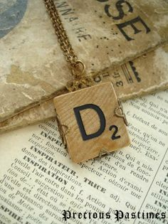 ♥´) ¸.·´¸.·*´¨) ¸.·*¨)  (¸.·´ ♥ TAKE A STEP BACK IN TIME TO A GOLDEN AGE . . .Vintage SCRABBLE Letter D Necklace. Lovely Old Wood Tile Initial Wrapped in Antiqued Brass Filigree. Monogram Necklace.