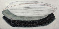 """New arrivals by #KarineLeger at #LanoueGallery """"Bring Back the Moon"""", mixed media on canvas 36x72"""""""