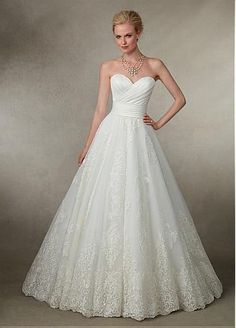 Tulle & Satin Sweetheart Neckline A-line Wedding Dresses With Lace Appliques at Dressilyme.com