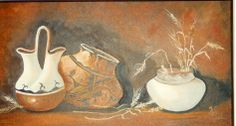 "Still life: ""Wedding pot, 2 other pots, & Wheat"" o/c 12x24 by Katherine Cook"