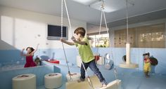Tel-Aviv based designer Sarit Shani Hay designs fun kindergarten spaces. Swings…