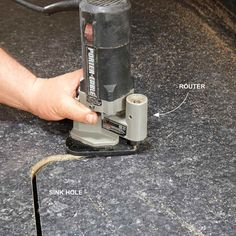 Trim Out the Sink Hole - Installing Laminate Countertops: http://www.familyhandyman.com/kitchen/countertops/installing-laminate-countertops