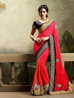 Red and Orange Bemberg Saree with Embroidery Work
