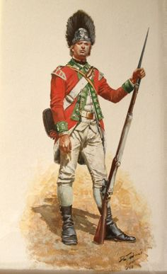 Grenadier from the 55th Regiment of Foot, circa 1777. Painted by Don Troiani. The 55th only served in the Americas from 1776 to 1778, but during that period they were participants in the battles of Brooklyn, Princeton and Brandywine.