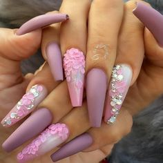 Pink Mauve Purple Nail Color | Floral Flower petals Diamond Nail Art | Matte Nails | Long Square Coffin Acrylic Nails | Valentines Day Nails | Pretty Nail Design #nails #nail #valentinesday #valentine #nailart #naildesign #diamond Pin: @amerishabeauty